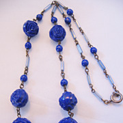 REDUCED Vintage Art Deco Cobalt Blue Glass Rose Necklace