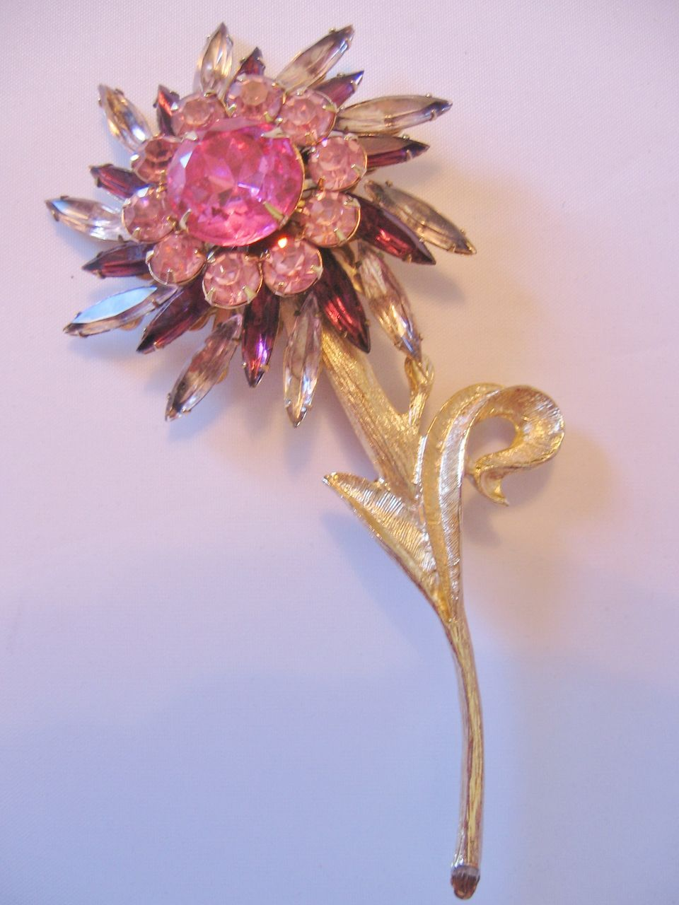 Judy Lee Large Rhinestone Flower Pin Brooch From