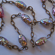 Vintage Art Glass Foil Bead and Brass Necklace