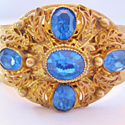 Vintage Czech Brass and Blue Glass Cuff Bangle Bracelet