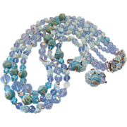 REDUCED Vendome Blue Molded Glass Flower-Bead and Art Bead Bib  Necklace and Earrings Set