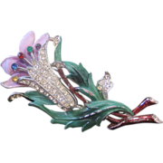 REDUCED Vintage 1940's  Enamel and Rhinestone Floral Lily Pin-Brooch
