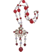 Vintage Blood Red Crystal and Faux Moonstone Necklace