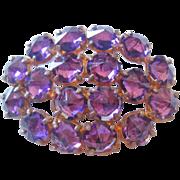 Vintage Purple Reverse Set Rhinestone Pin-Brooch