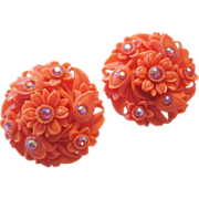 Vintage Celluloid-Plastic Faux Coral and Rhinestone Earrings