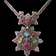 Vintage Hollycraft Pastel Rhinestone Necklace-1951