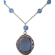 Vintage Art Deco Glass and Crystal Silver tone Necklace