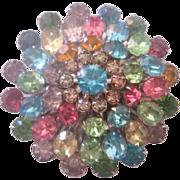 Vintage Coro Pastel Multi Color Rhinestone Pin-Brooch