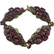 Vinatge Czech Rare Purple Glass and Brass Bracelet