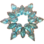 Vintage Turquoise Colored Star Rhinestone Pin-Brooch