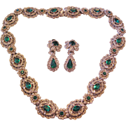 Vintage Hollywood Glamour Clear and Emerald Green Rhinestone Demi Parure-Necklace- Earrings Se