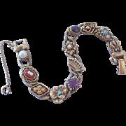 Vintage Goldette Victorian Revival Slide Bracelet