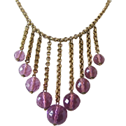 Vintage Brass and Purple Crystal Bib Necklace