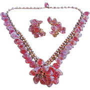 Vintage Kramer Pink Givre Art Glass Bead and Aurora Rhinestone Demi -Necklace and Earrings Set