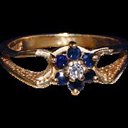14kt Gold, Sapphire & Diamond Vintage Ring, High Set Stones, Size 6 ½