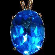 SALE 14kt Yellow Gold Large Stone Deep Aqua Blue Vintage Pendant