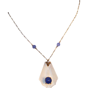 Art Deco 14k Gold, Rock Crystal & Chalcedony Lavaliere Drop Necklace