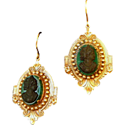Antique Detailed Large Cameo Mourning Jewelry, Pierced Ears