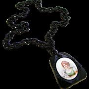 Large Black Bakelite Celluloid Signed Vintage Portrait Necklace of Possible Prussian Princess