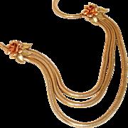 Krementz Signed Antique 14k Rolled Gold Snake Chain Bib Drop Necklace