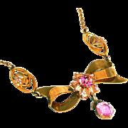 12kt Gold Filled J J White Co Vintage Retro Modern Pink Stone Bow Drop Necklace ...