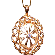 SALE 14kt Antique Rose Gold & Diamond Hand Wrought Large Pendant, Over 5 Grams