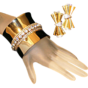 "SALE Stunning Extra Wide 2 ¼"" Vintage Rhinestone Runway  Cuff Bracelet & Clip Earring Set"
