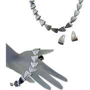 Napier Retro Modern Vintage Sterling Silver Parure, Necklace, Bracelet & Earring Set