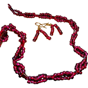 SALE Garnet Woven Bead & Carved Tubes Vintage Necklace & Matching Pierced Earrings