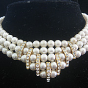 Heavy Glass Pearls & Rhinestones Large Vintage Bib Necklace