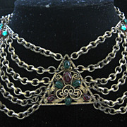 SALE Beautiful Vintage Glass Stones & Brass Billowing Bib Necklace