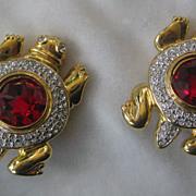 SALE VALENTINO Beautiful Red Turtle Earrings