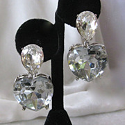 Kenneth Lane Vintage Dangling Glass Heart Earrings