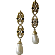 Vintage Designer Runway Pearl Chandelier Earrings