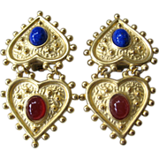 Beautiful Vintage Hearts & Cabochons Earrings