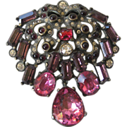EISENBERG Original Rare Pinks Purple & Red Glass Fur Clip