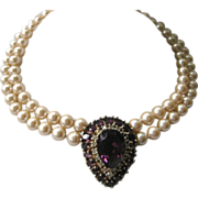 SALE PANETTA Beautiful Purple Glass & Pearls Necklace