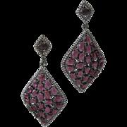 Beautiful Openback Natural Rhodolite Garnets Sparkling Czs Sterling Silver Earrings