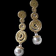 Vintage Goldtone & Dangling Pearl Shoulder Duster Earrings