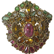 SALE ROBERT Beautiful Open Back Stones In Intricate Ornate Filigree Large Pin Brooch Pendant