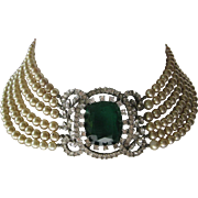 SALE MARVELLA Spectacular 1940s Heavy 6 Strand Glass Pearls & Large Emerald Glass Centerpiece