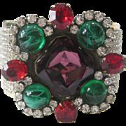 SALE LAWRENCE VRBA Purple & Marbled Green Glass Rhinestones Cuff Bracelet
