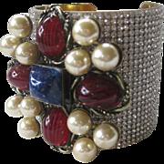 SALE Lawrence VRBA Marbled Blue & Red Glass Stones Rhinestones Cuff Bracelet