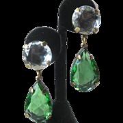 SALE J.Max Emerald & Ice Clear Open Back Glass Tear Drop Chandelier Earrings