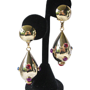 Multi Color Large Cabochons & Gold Earrings
