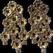 Gold & Jet Rhinestones Flower Chandelier Earrings