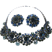 Blues & Greens Beautiful Rhinestones Cluster Necklace & Earrings Demi Parure JULIANA