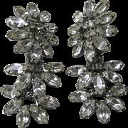 K.J.L. Rhinestone Flowers Earrings