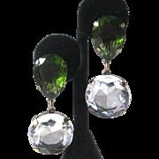 Large Peridot Green & Clear Open Back Glass Stones Earrings J.Max