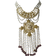 Purple Glass & Pearls Huge Vintage Bib Statement Necklace